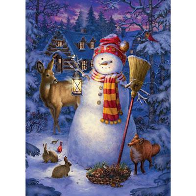 Night Watch Snowman 300 Large Piece Glow-In-The Dark Jigsaw Puzzle