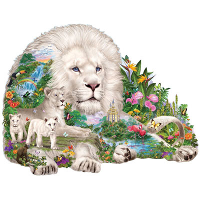 Dream Of The White Lions 300 Large Piece Shaped Puzzle