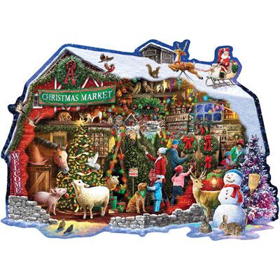 Christmas Barn 750 Piece Shaped Jigsaw Puzzle