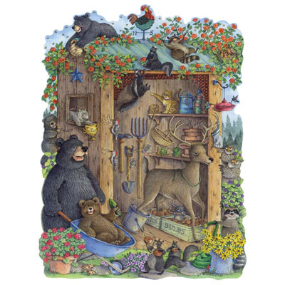 Critters In The Garden Shed 300 Large Piece Shaped Jigsaw Puzzle