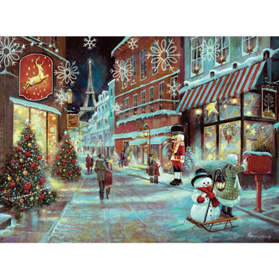 Christmas In Paris 300 Large Piece Glitter Effect Jigsaw Puzzle