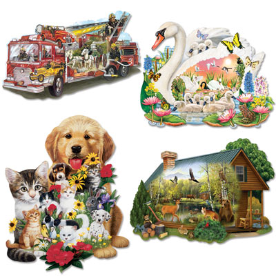 Set of 4: 300 Large Piece Shaped Jigsaw Puzzles
