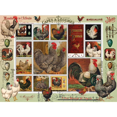 Fancy Rooster Quilt 500 Piece Jigsaw Puzzle