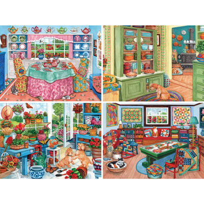 Set of 4: Parker Fulton 500 Piece Jigsaw Puzzles