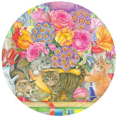 Flower Shop Kittens 300 Large Piece Round Jigsaw Puzzle