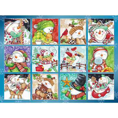 Merry Snowman Quilt 500 Piece Jigsaw Puzzle