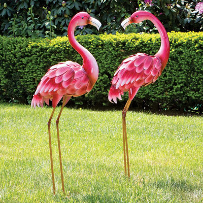 Set Of Two: Pink Metal Flamingo Garden Statues