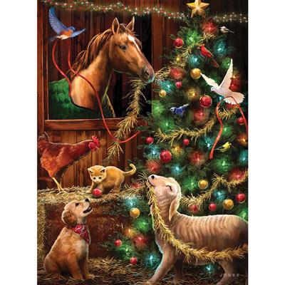 Christmas Barn 1000 Piece Glow-In-The Dark Jigsaw Puzzle