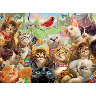 Kittens And Cardinal 1500 Piece Giant Jigsaw Puzzle