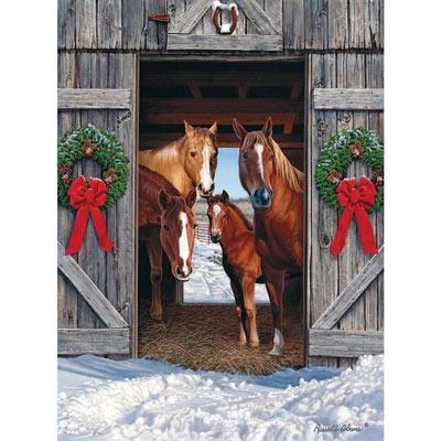 Horse Barn Christmas 500 Piece Jigsaw Puzzle