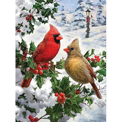 Cardinal Couple 300 Large Piece Glitter Effect Jigsaw Puzzle