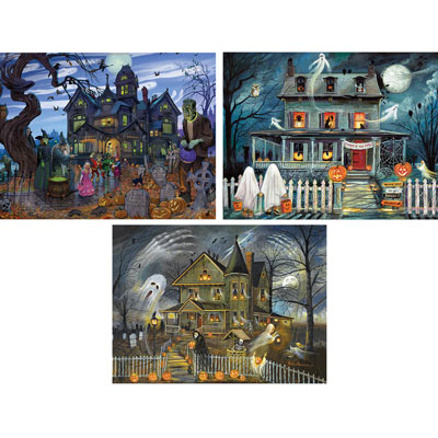Preboxed Set of 3: Halloween 300 Large Piece Jigsaw Puzzles
