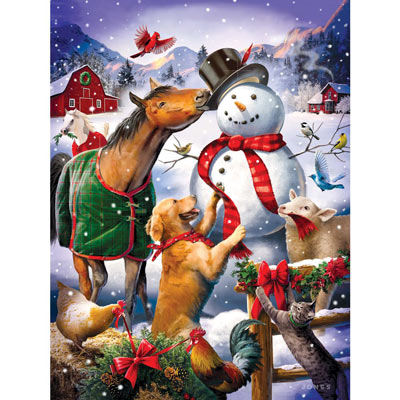 Christmas Barn Snowman 300 Large Piece Jigsaw Puzzle