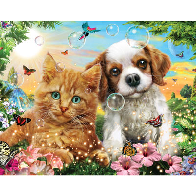 Kitten And Puppy 100 Large Piece Jigsaw Puzzle
