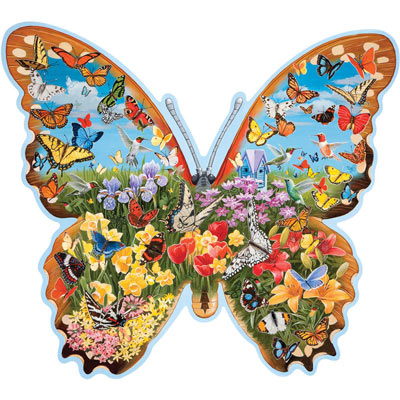 Hidden Butterfly Meadow 750 Piece Shaped Jigsaw Puzzle