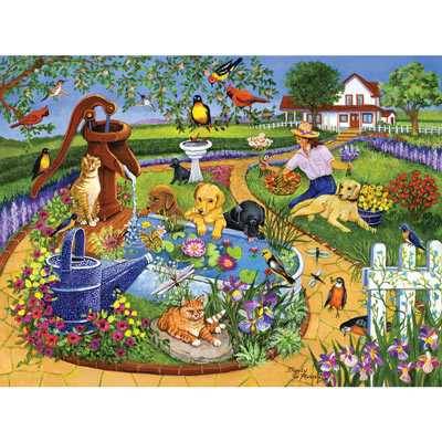 Pups At The Water Pump 300 Large Piece Jigsaw Puzzle