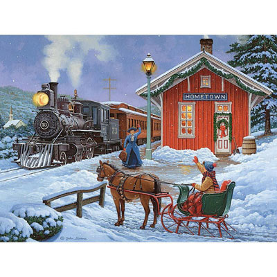 Home For Christmas 300 Large Piece Glow-In-The-Dark Jigsaw Puzzle