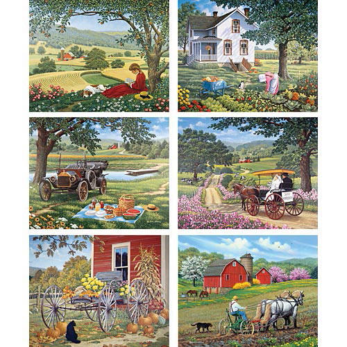Set of 6: John Sloane Country Series 500 Piece Jigsaw Puzzles