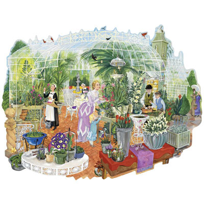 Gathering At The Greenhouse 300 Large Piece Shaped Jigsaw Puzzle