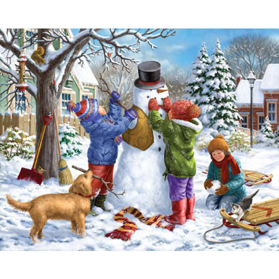 Building A Snowman On A Snow Day 1000 Piece Jigsaw Puzzle
