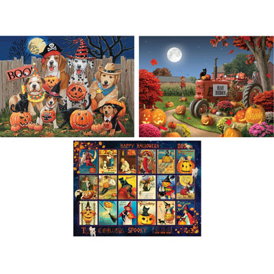 Set of 3 Preboxed: Halloween 500 Piece Jigsaw Puzzles