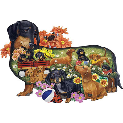 Delightful Dachshunds 750 Piece Shaped Jigsaw Puzzle