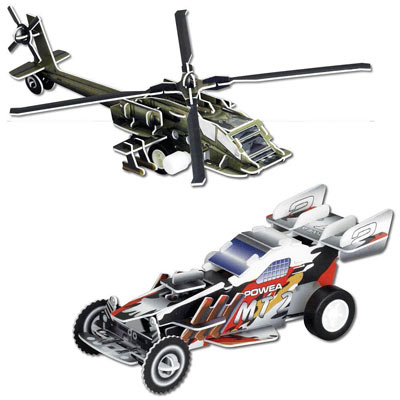 Set of 2: Race Car and Helicopter