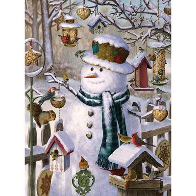 Snowman Feeding The Birds 1000 Piece Jigsaw Puzzle