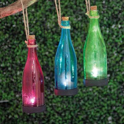 Green Solar Powered Hanging Glass Bottle