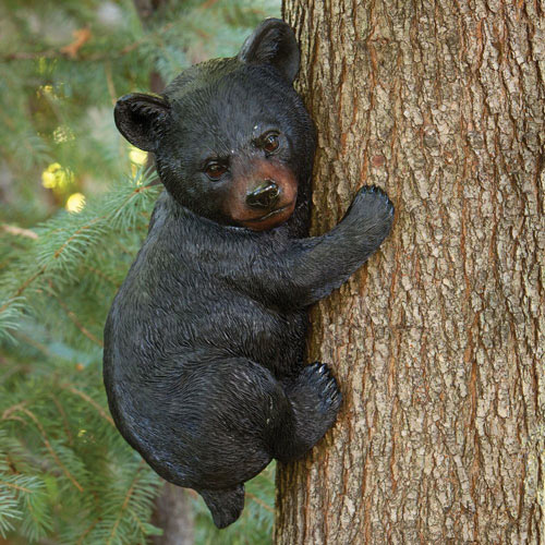 Bear Cub Up A Tree Sculpture