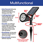2-in-1 Waterproof 4-LED Solar Spotlight - Set of 2