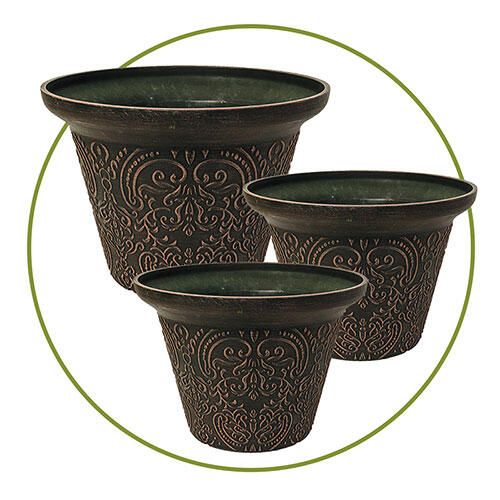 Damask Planters-Set of 3