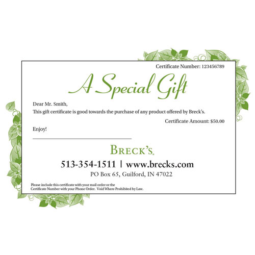 e gift certificates brecks com
