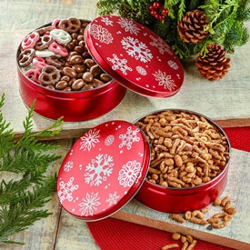 Stacking Snack Tins - Red Snowflakes