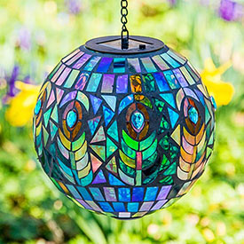 Mosaic Peacock Solar Orb