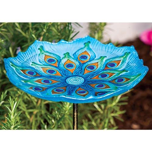 Peacock Glass Birdbath