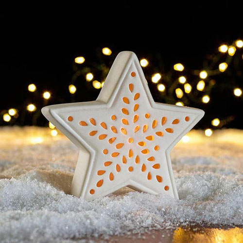Porcelain LED Star Lights - Set of 3