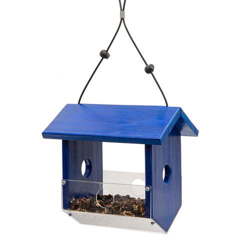 Blue Fly-Thru Bird Feeder