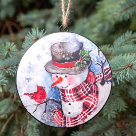 Metal Snowman Ornament Set
