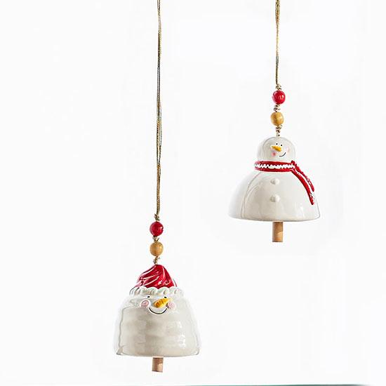 Ceramic Snowman Bells–Set of 2