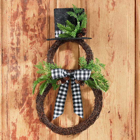 Plaid Snowman Wreath