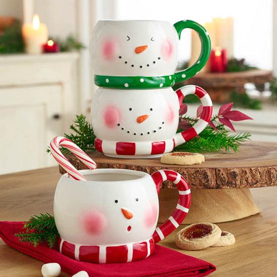 Stacking Snowmen Mug Trio
