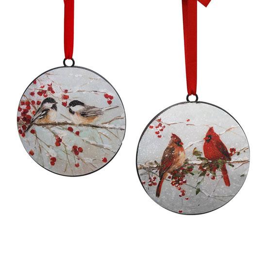 Winter Birds Metal Ornament Set