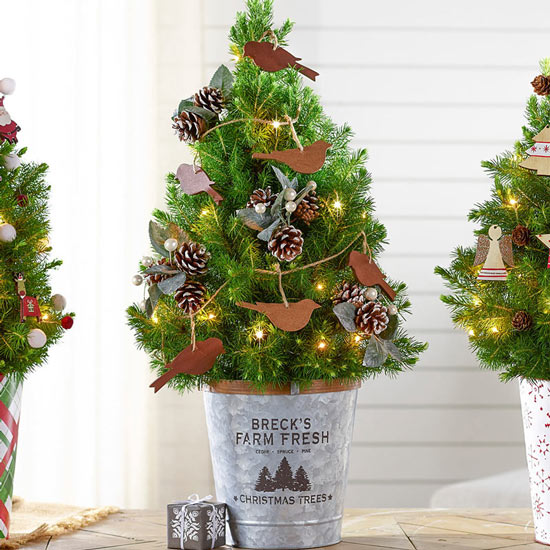 Farmhouse Flock Potted Spruce Tree