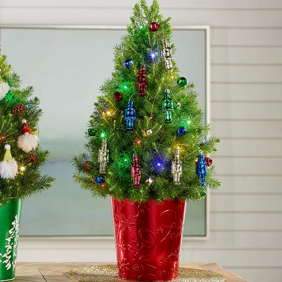 Colorful Nutcrackers Potted Spruce Tree