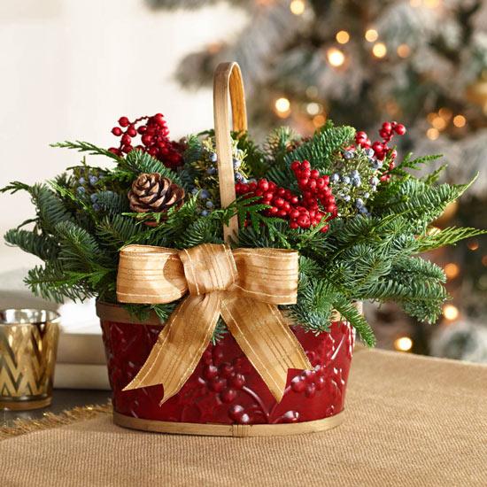 Fresh Evergreen Basket Centerpiece