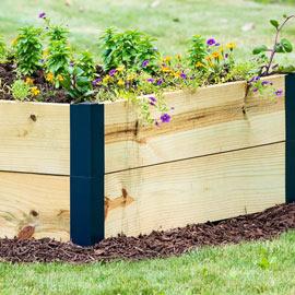Raised Garden Bed Corners & Extenders - Set of 2 Corners - Navy Blue