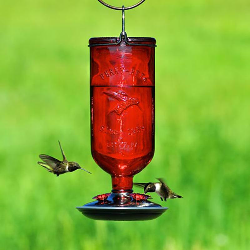 Lovely Vintage Glass Hummingbird Feeder