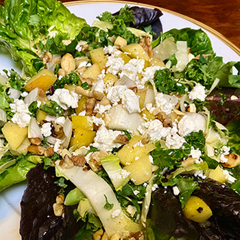 Crunch-A-Bunch<sup>™</sup> Warm Apple Dressing on Wilted Green Salad