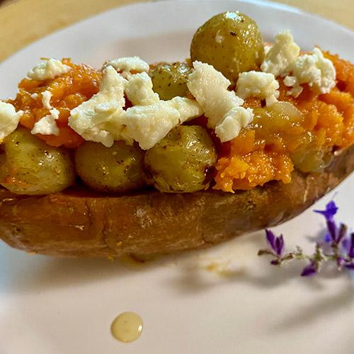 Gurney's<sup>®</sup> Covington Sweet Potato Stuffed with Sautéed Oh My!<sup>®</sup> Seedless Grapes